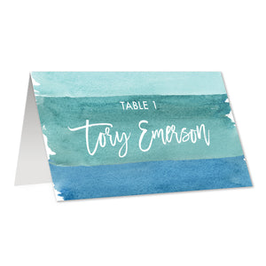 Turquoise Blue Place Cards in Watercolor | Tory