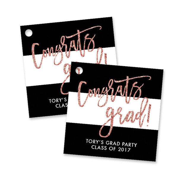"""Tory"" Blush Glitter Graduation Favor Tags"