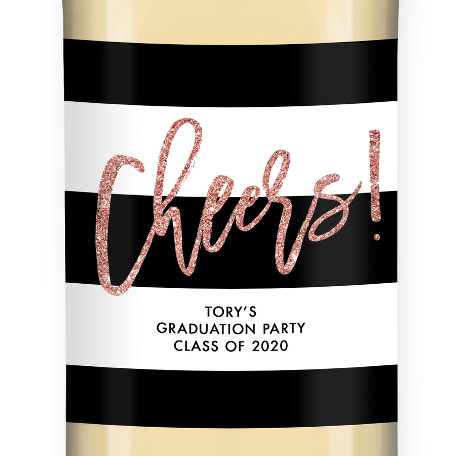 """Tory"" Blush Glitter Graduation Wine Labels"