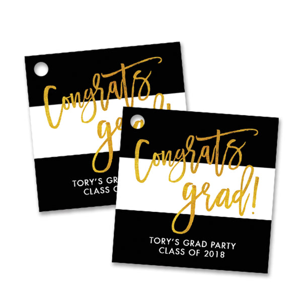 """Tory"" Black White Stripes Gold Foil Favor Tags"