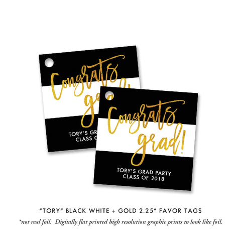 """Tory"" Black White + Gold Graduation Favor Tags"