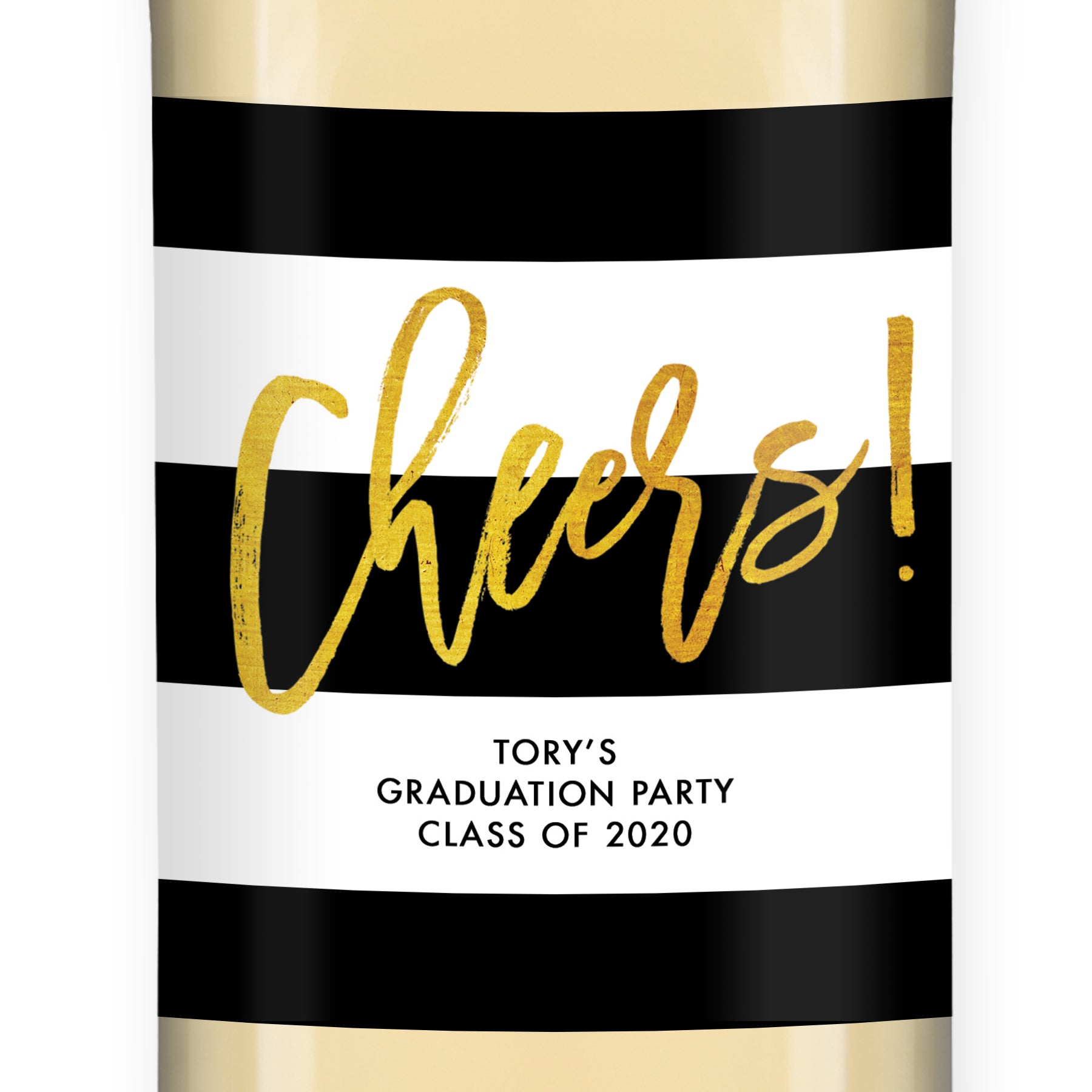 """Tory"" Black White + Gold Graduation Wine Labels"