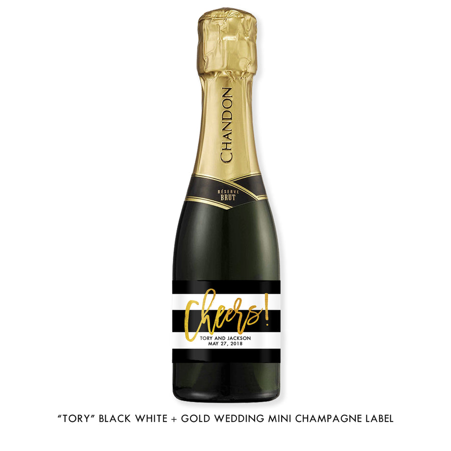 """Tory"" Black White + Gold Wedding Champagne Labels"