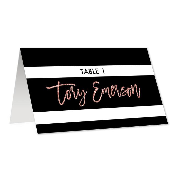 Black + White Striped Place Cards with Blush Glitter | Tory