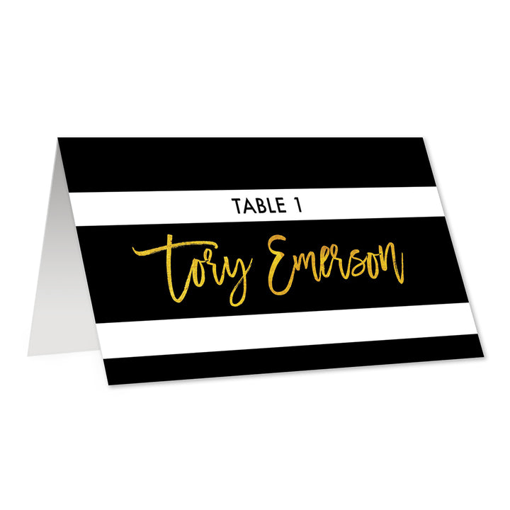 Black + White Striped Place Cards with Gold | Tory