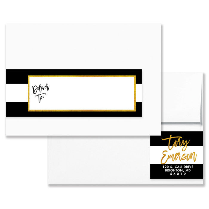 Tory Black White Gold Envelope Wrap Address Labels