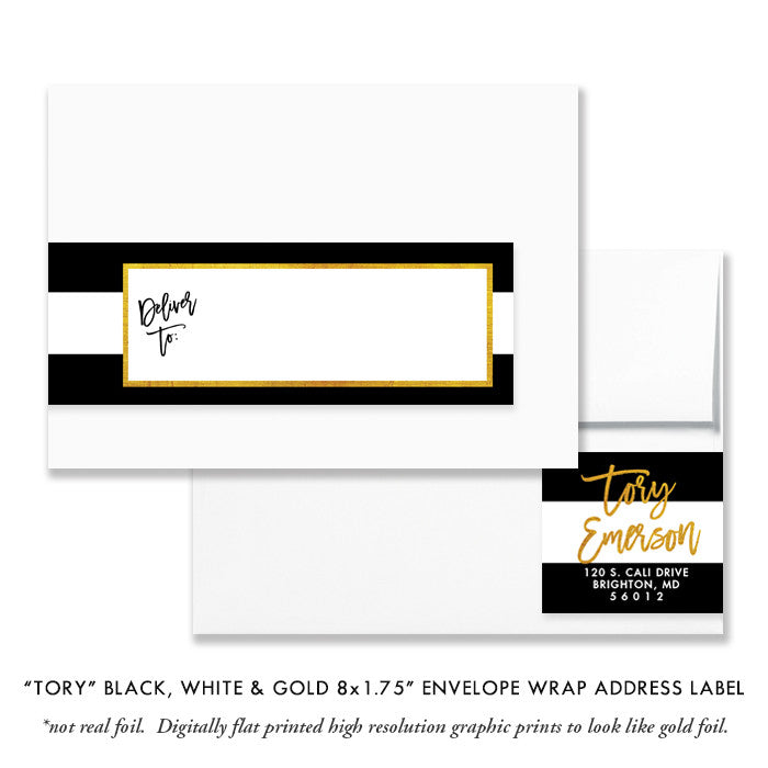 """Tory"" Black White & Gold Envelope Wrap Address Labels"