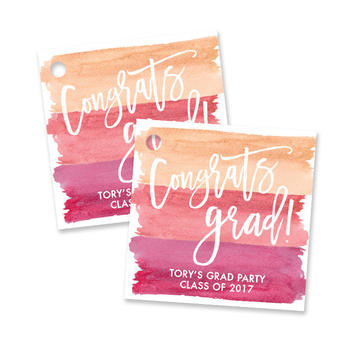 """Tory"" Pink Ombre Watercolor Graduation Favor Tags"