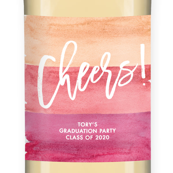 """Tory"" Pink Ombre Watercolor Graduation Wine Labels"