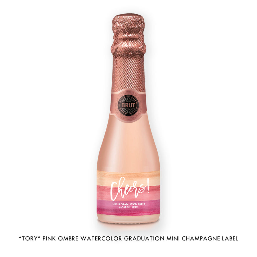 """Tory"" Pink Ombre Watercolor Graduation Champagne Labels"
