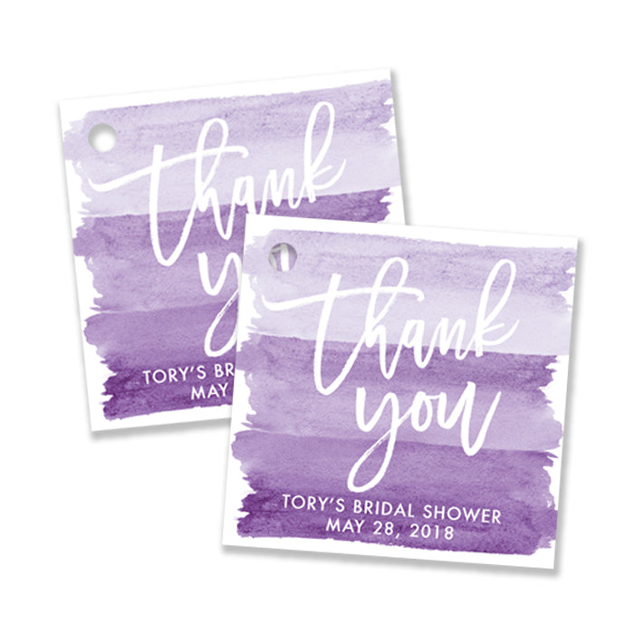 """Tory"" Purple Watercolor Bridal Shower Favor Tags"