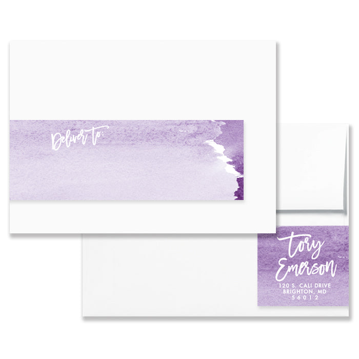 purple watercolor ombre envelope wrap address label digibuddha
