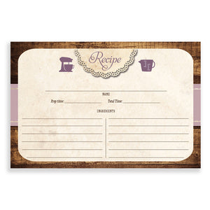 Rustic Wood Recipe Cards |  Tracey Purple