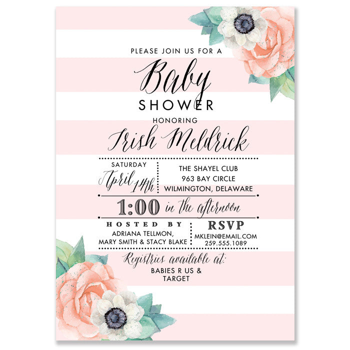 """Trish"" Pink Striped + Floral Baby Shower Invitation"