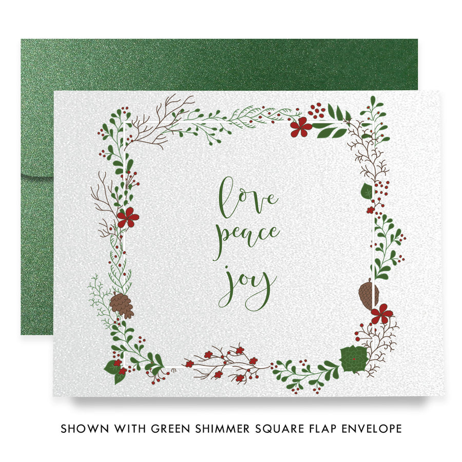 Winter Foliage Frame Boxed Holiday Cards | Ullman