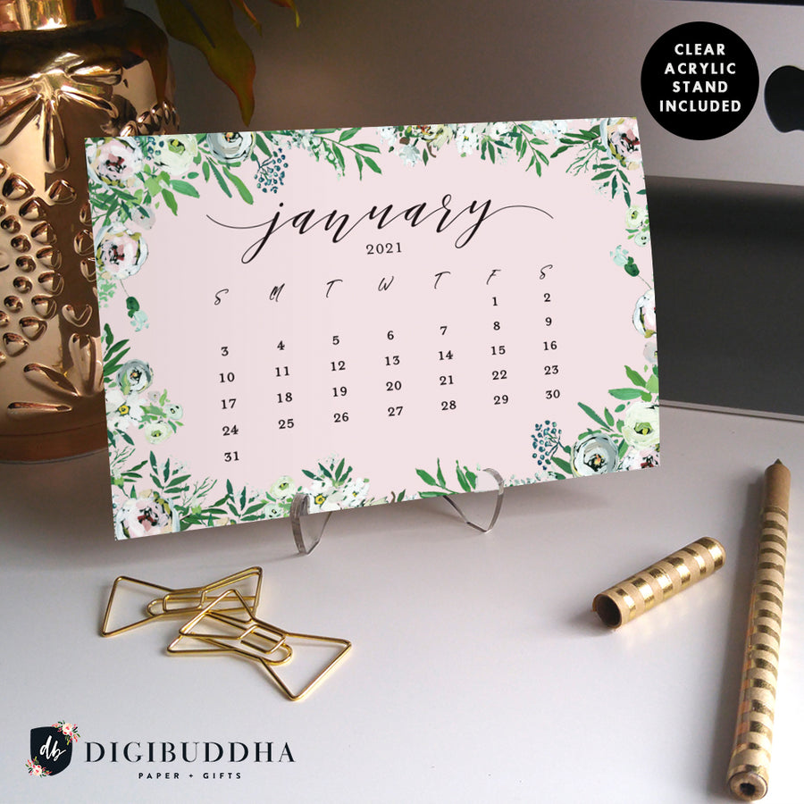 2021 Painted Florals Desk Calendar by Digibuddha | Coll. 8B