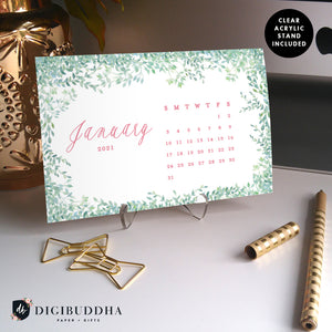 2021 Whimsical Vines Desk Calendar by Digibuddha | Coll. 16