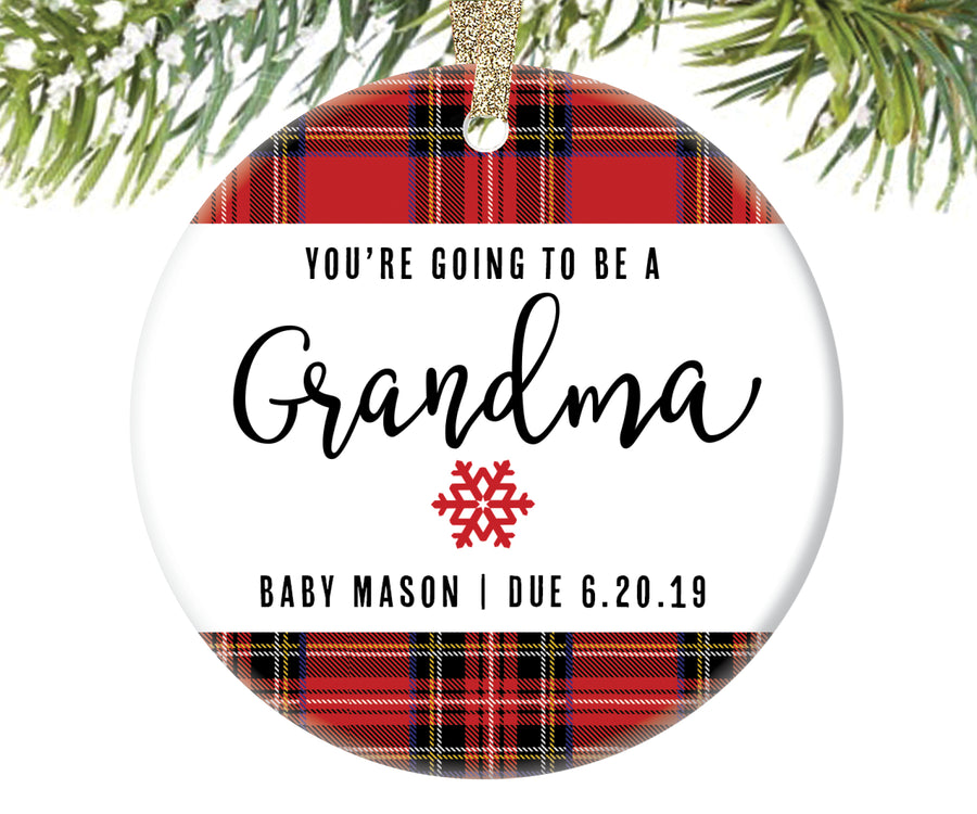 Pregnancy Announcement Ornament for Grandma To Be, Personalized | 17
