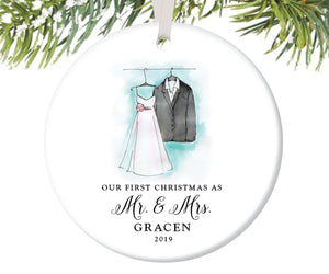 Mr and Mrs First Christmas Ornament, Personalized | 18