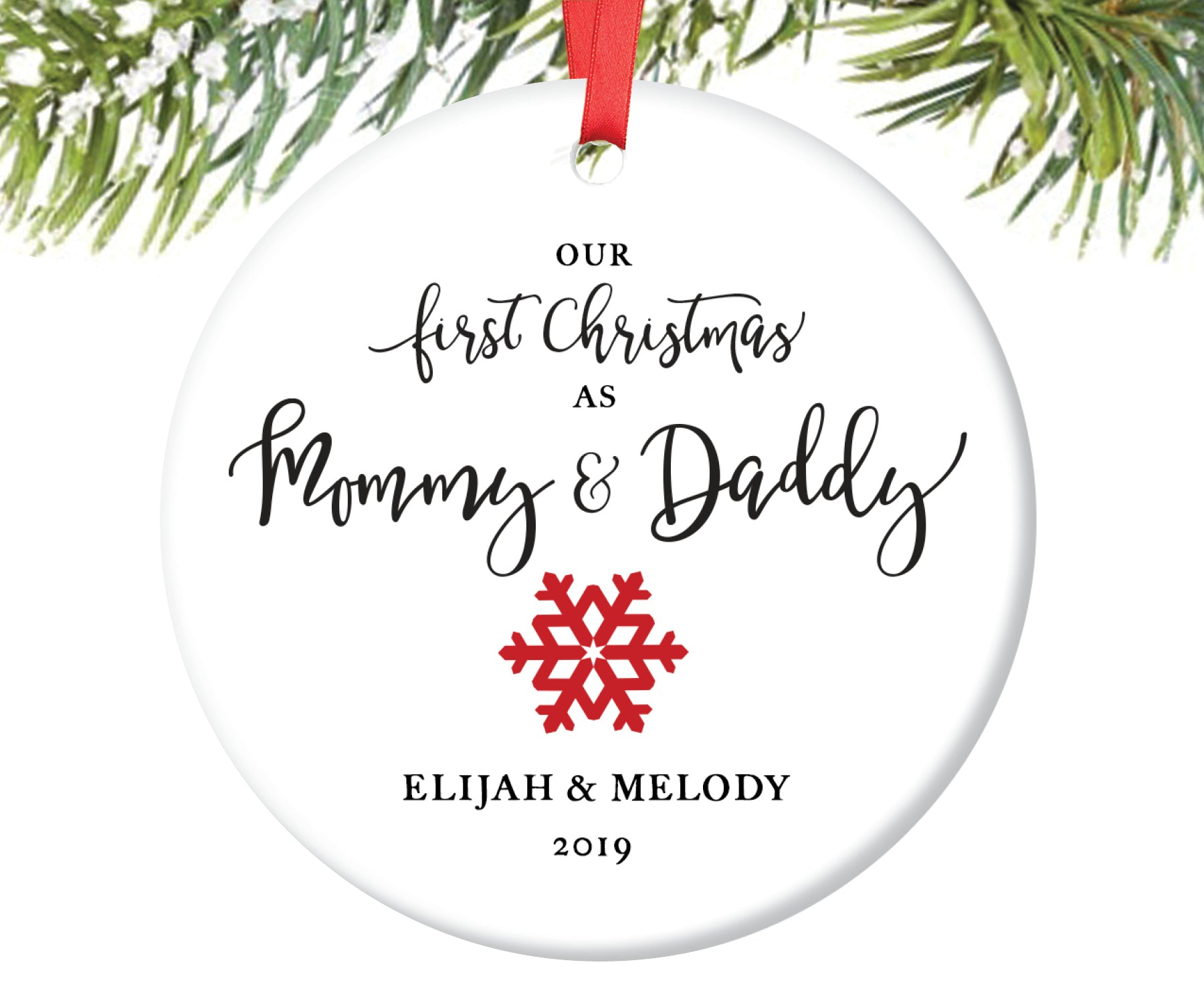 First Christmas as Mommy and Daddy Christmas Ornament, Personalized | 22