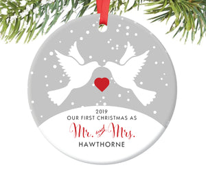 First Christmas as Mr and Mrs Ornament, Personalized | 35