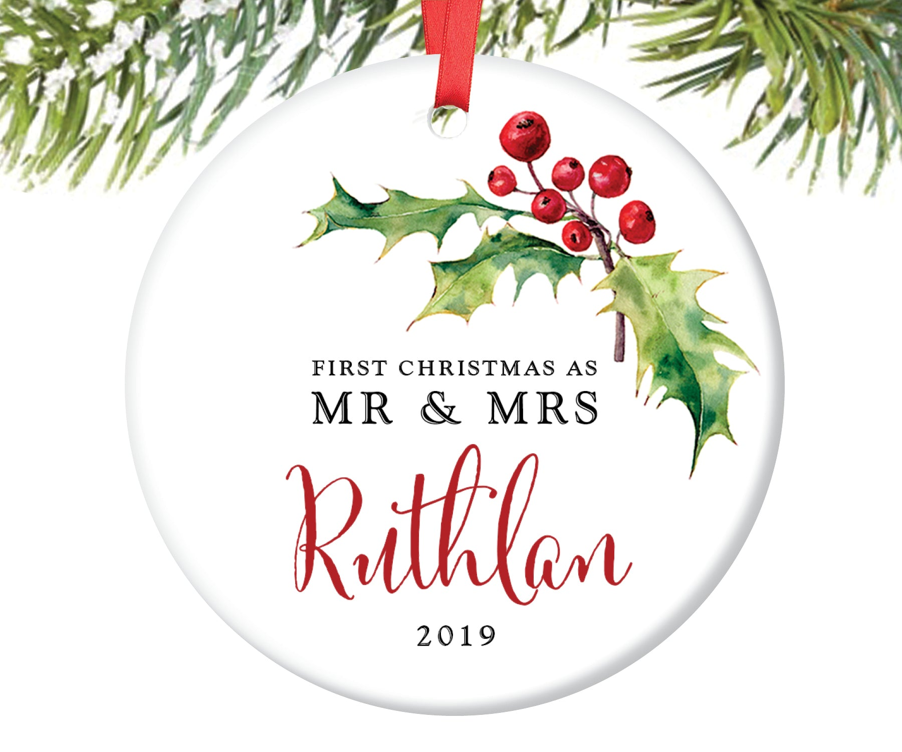 First Christmas as Mr and Mrs Ornament, Personalized | 59