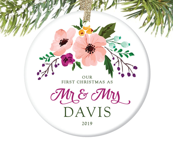 First Christmas as Mr and Mrs Ornament, Personalized | 63