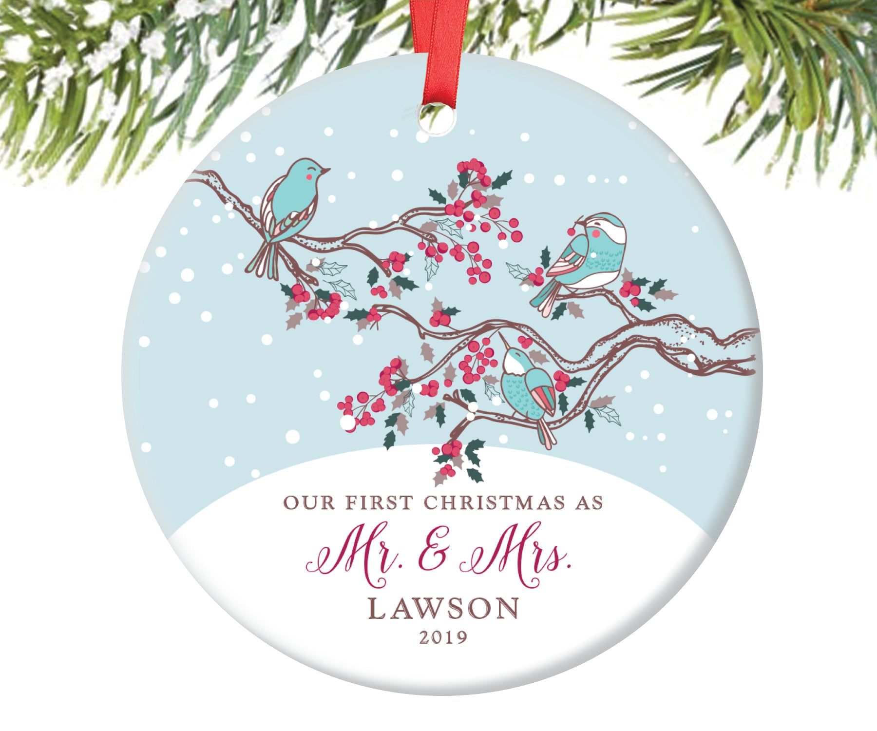 First Christmas as Mr and Mrs Ornament, Personalized | 69