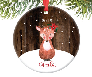 Baby Fawn Deer Christmas Ornament for Girls, Personalized | 74