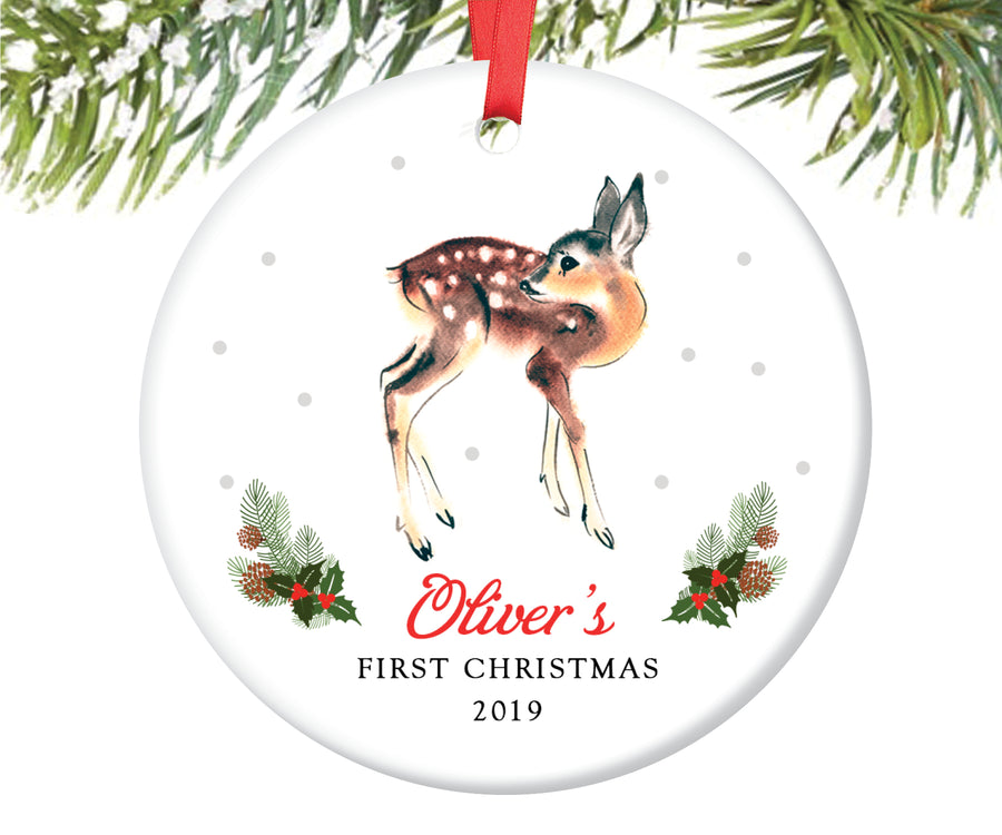 Baby Boy's First Christmas Ornament, Personalized | 85