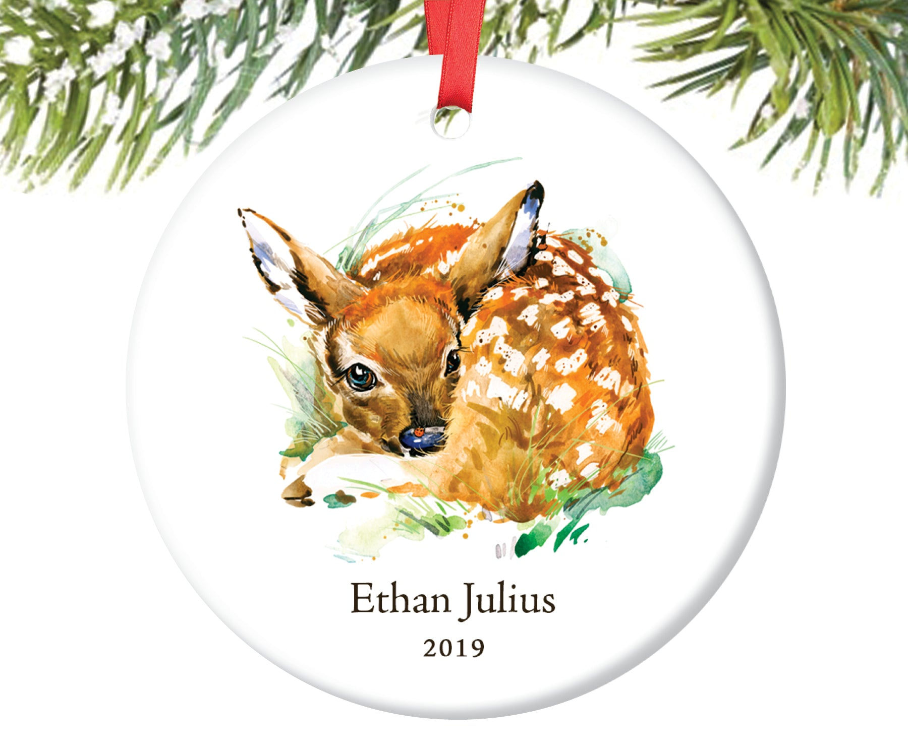 Baby Deer Christmas Ornament for Boy, Personalized | 86