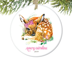 Baby Deer Christmas Ornament for Girls, Personalized | 86