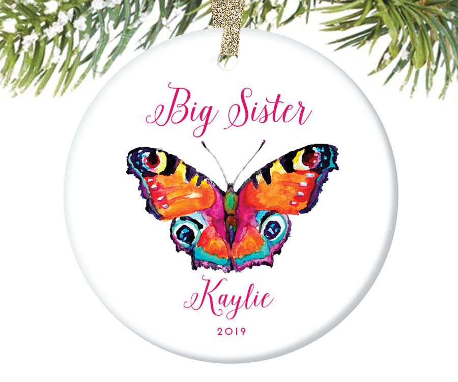 Big Sister Butterfly Christmas Ornament, Personalized | 93