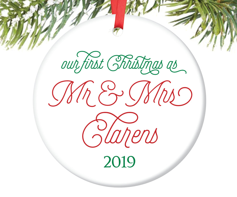 First Christmas as Mr and Mrs Ornament, Personalized | 105
