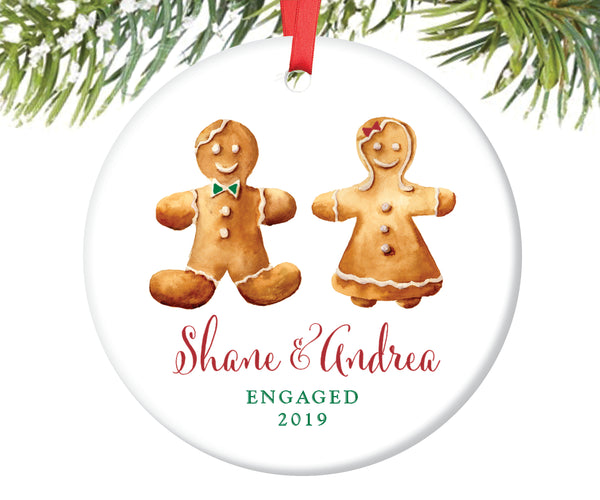 Engaged Christmas Ornament Gingerbread Couple, Personalized | 108