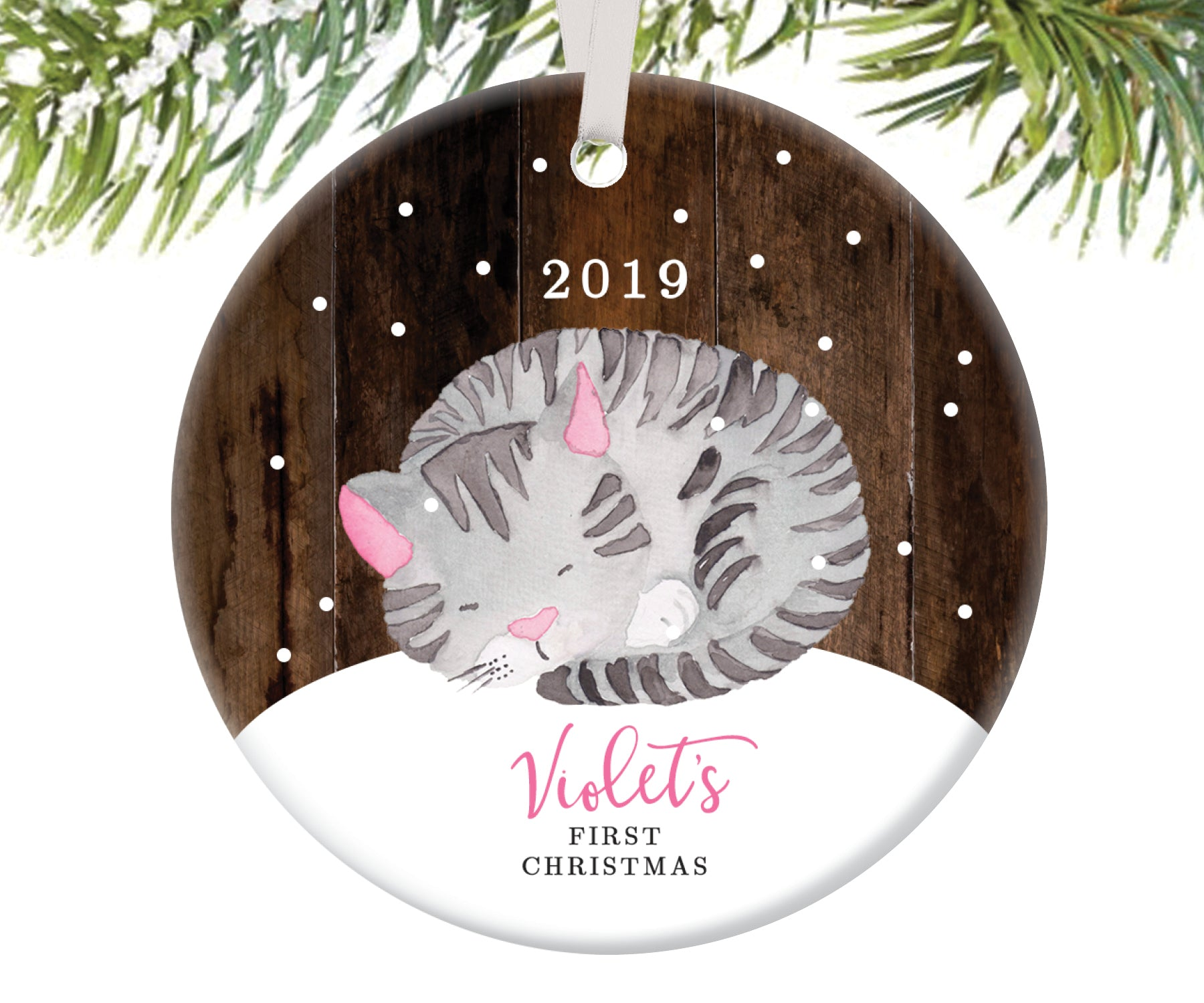 Kitten Ornament for Baby's First Christmas, Personalized | 113
