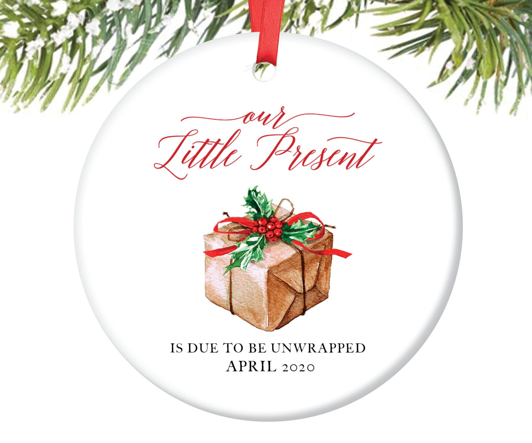 Expecting Parents Christmas Present Ornament, Personalized | 115