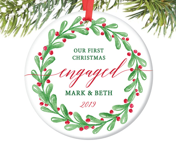 Engaged Christmas Ornament, Personalized | 119