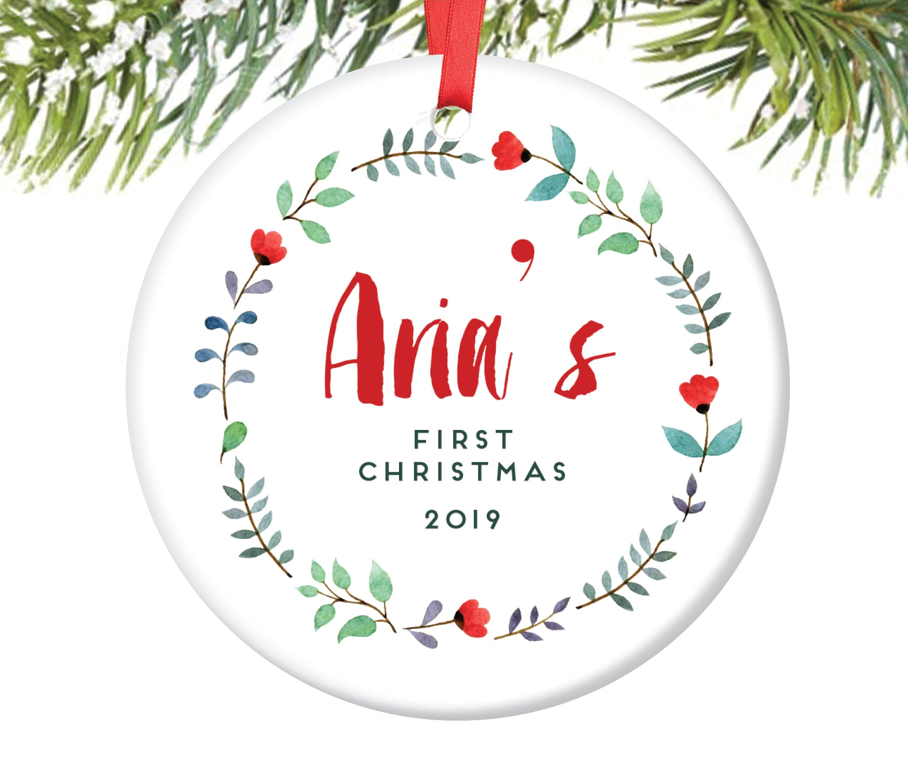Baby Girl's First Christmas Ornament, Personalized | 120