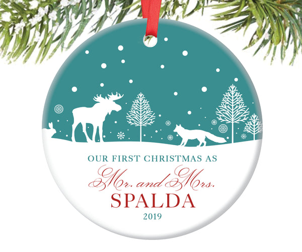 First Christmas as Mr and Mrs Ornament, Personalized | 129