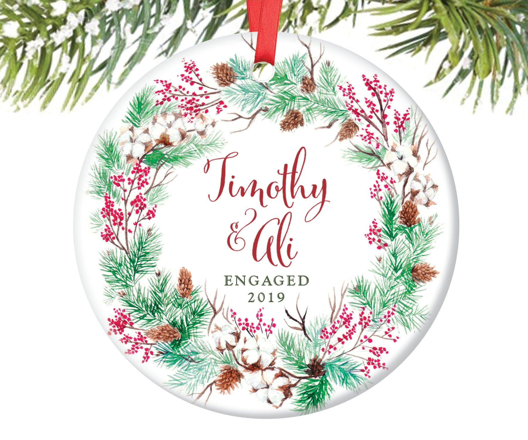 Engaged Christmas Ornament, Personalized | 131