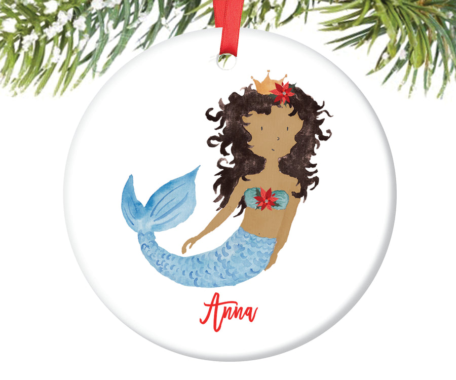 Black Mermaid Christmas Ornament, Personalized | 133