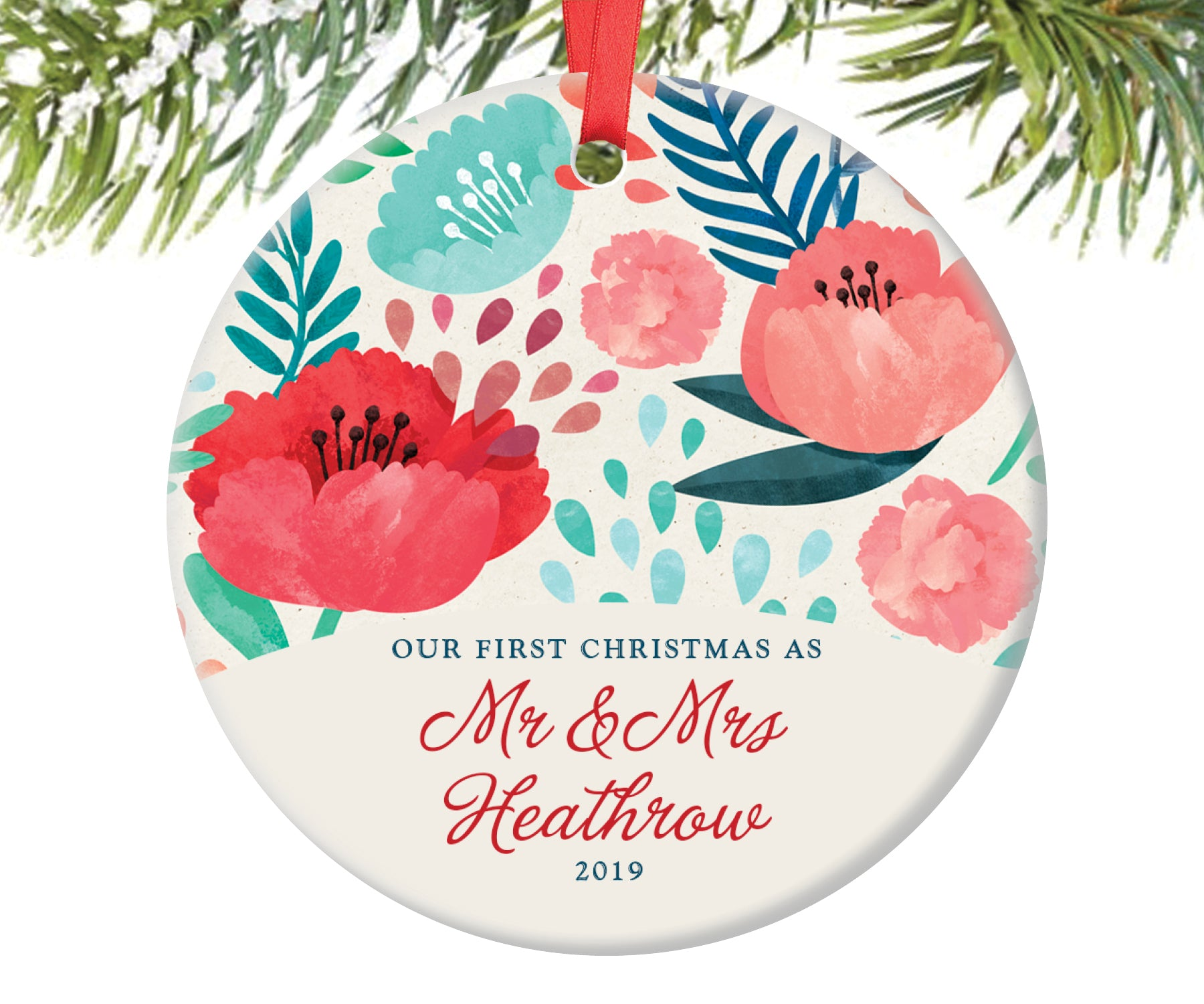 First Christmas as Mr and Mrs Ornament, Personalized | 154
