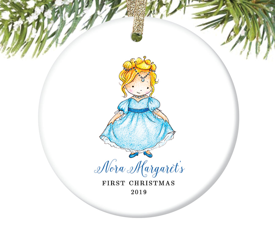 Baby's First Christmas Princess Ornament, Personalized | 157