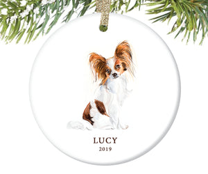 Papillon Christmas Ornament, Personalized | 160