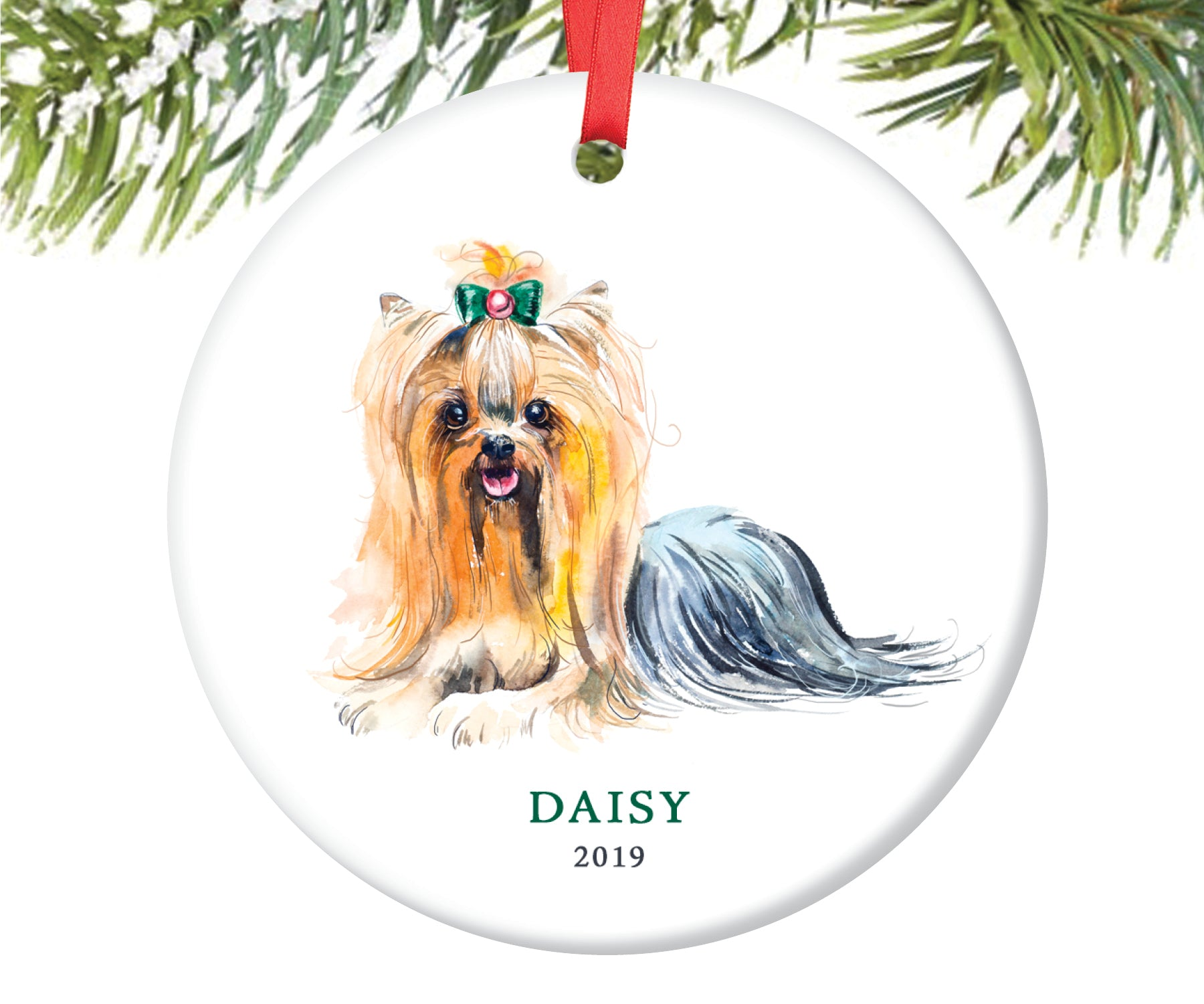 Yorkie Christmas Ornament, Personalized | 183 - Digibuddha