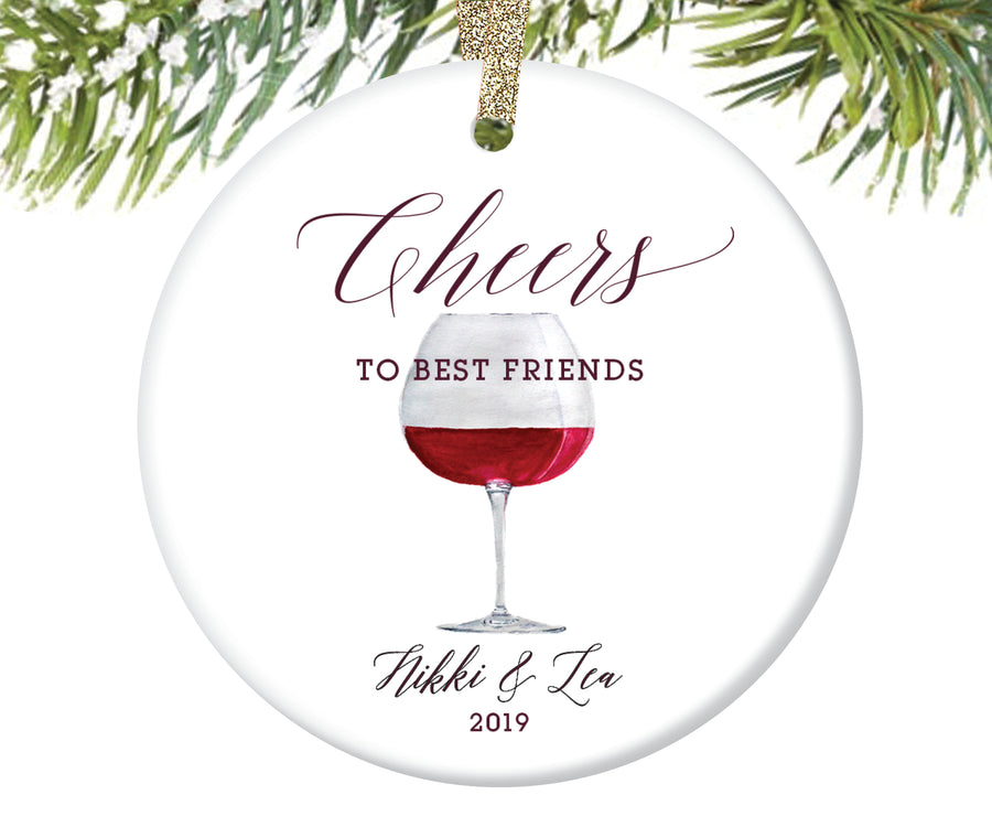 Cheers to Best Friends Christmas Ornament, Personalized | 188