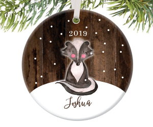 Skunk Christmas Ornament for Boys, Personalized | 194