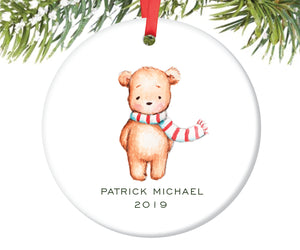 Teddy Bear Christmas Ornament, Personalized | 198