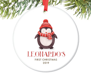 Baby's First Christmas Penguin Ornament, Personalized | 205